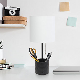 Simple Designs Hammered Metal Organizer Table Lamp with USB charging port and Fabric Shade, Black, Black, rollover