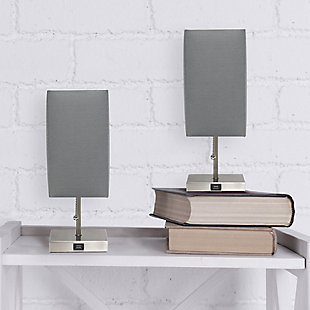 Simple Designs Petite Stick Lamp with USB Charging Port and Fabric Shade 2 Pack Set, Gray, Gray, rollover