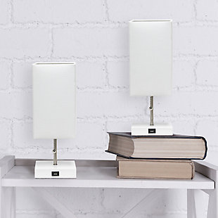 Simple Designs Petite White Stick Lamp with USB Charging Port and Fabric Shade 2 Pack Set, White, White, rollover