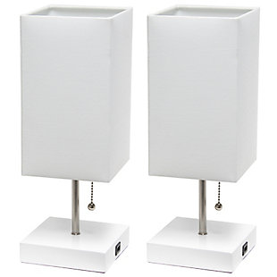 Simple Designs Petite White Stick Lamp with USB Charging Port and Fabric Shade 2 Pack Set, White, White, large