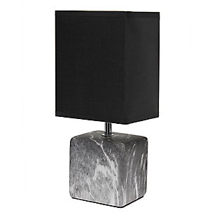 Simple Designs Petite Marbled Ceramic Table Lamp with Fabric Shade, Black with Black Shade, Black/Black, large