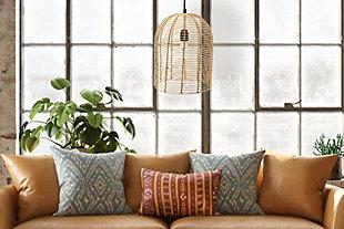 Creative Co-op Modern Boho Handwoven Rattan Pendant Light, , rollover