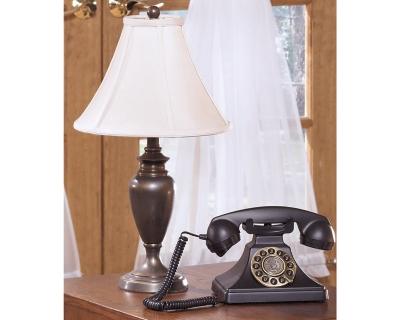 Stunning Set Antique Brass Finish Lamp Product Photo