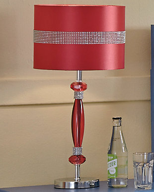 Nyssa Table Lamp, Hot Pink/Silver Finish, rollover
