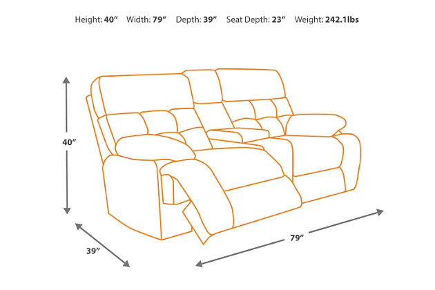 Loveseat Dimensions Diagram  sc 1 st  Ashley Furniture HomeStore & Oberson Reclining Loveseat with Console | Ashley Furniture HomeStore islam-shia.org