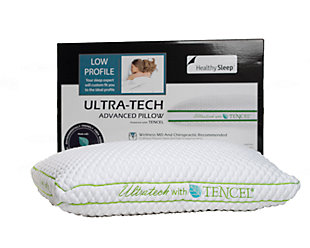Ultra-Tech Tencel Low Profile Pillow, White, large