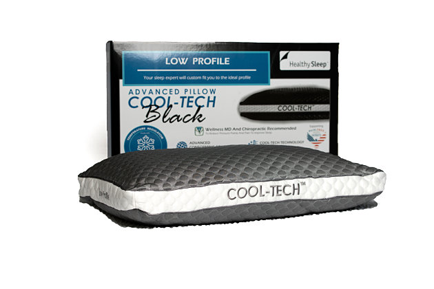 Cool-Tech Black Advanced Low Profile Pillow, Charcoal, large