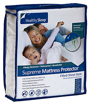Healthy Sleep Supreme Twin Mattress Protector, White, large