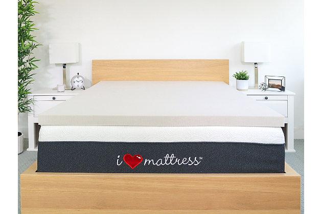 I Love Pillow Twin Mattress Topper, White, large