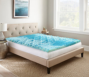"Thomasville  2"" Gellux Tri-Zone Gel Memory Foam Twin Mattress Topper, Blue, rollover"