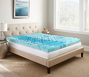 "Thomasville  3"" Gellux Tri-Zone Gel Memory Foam Twin Mattress Topper, Blue, rollover"
