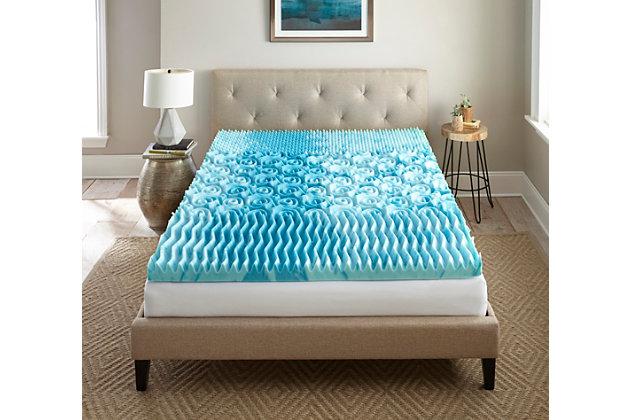 "Thomasville  3"" Gellux Tri-Zone Gel Memory Foam Twin Mattress Topper, Blue, large"