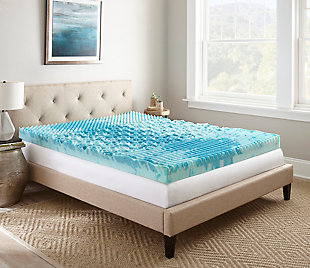 "Thomasville  4"" Gellux Tri-Zone Gel Memory Foam Twin Mattress Topper, Blue, rollover"