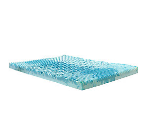 "Thomasville  4"" Gellux Tri-Zone Gel Memory Foam Twin Mattress Topper, Blue, large"