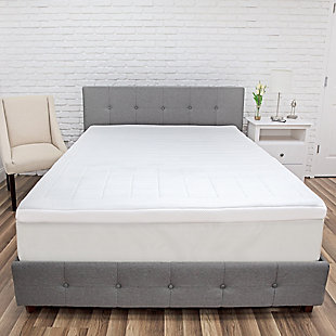 SensorPEDIC® Euro Majestic 3-Zone Quilted Memory Foam 3-Inch Twin Bed Topper, White, rollover