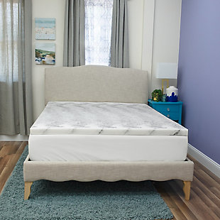 SensorPEDIC® 2-Inch Bamboo Charcoal Infused Memory Foam Twin Mattress Topper, White/Gray, rollover