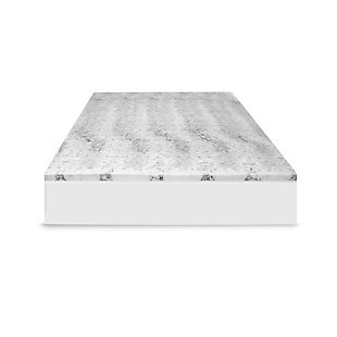 SensorPEDIC® 2-Inch Bamboo Charcoal Infused Memory Foam Twin Mattress Topper, White/Gray, large