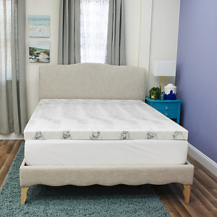 SensorPEDIC® 3-Inch Bamboo Charcoal Infused Memory Foam Twin Mattress Topper, White/Gray, rollover