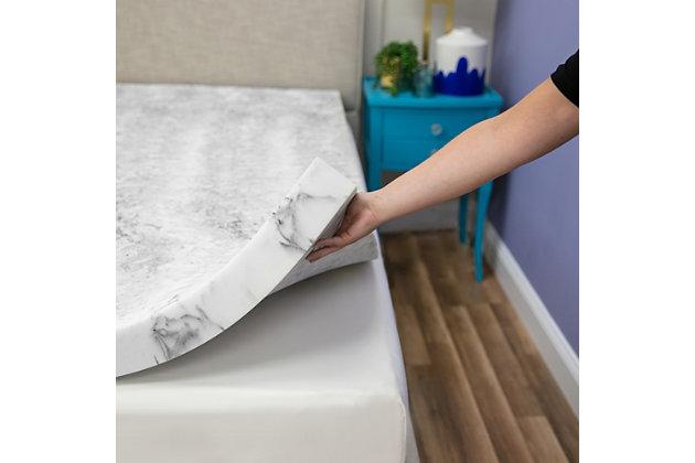 SensorPEDIC® 3-Inch Bamboo Charcoal Infused Memory Foam Twin Mattress Topper, White/Gray, large