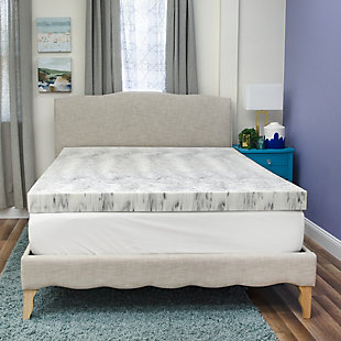 SensorPEDIC® 4-Inch Bamboo Charcoal Infused Memory Foam Twin Mattress Topper, White/Gray, rollover