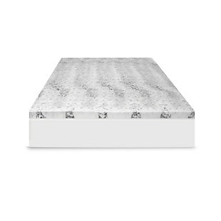 SensorPEDIC® 4-Inch Bamboo Charcoal Infused Memory Foam Twin Mattress Topper, White/Gray, large