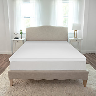SensorPEDIC® 2-Inch Essentials Memory Foam Twin Mattress Topper, White, rollover
