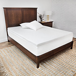 SensorPEDIC® 2-Inch Majestic Ventilated Memory Foam Twin Mattress Topper, White, rollover