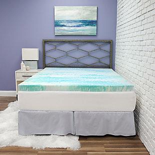 SensorPEDIC® 3-Inch Gel Swirl Memory Foam Twin Mattress Topper, Blue/White, rollover