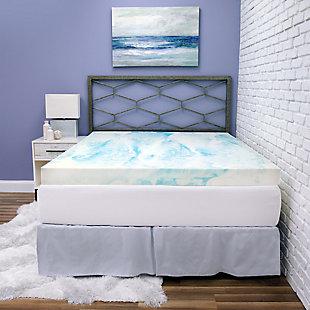 SensorPEDIC® 4-Inch Gel Swirl Memory Foam Twin Mattress Topper, Blue/White, rollover