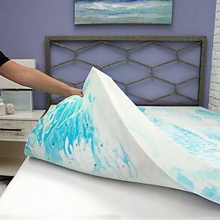 SensorPEDIC® 4-Inch Gel Swirl Memory Foam Twin Mattress Topper, Blue/White, large