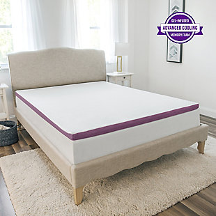 SensorPEDIC® 2-Inch Advanced Cool Transcend Memory Foam Twin Bed Topper, White, rollover