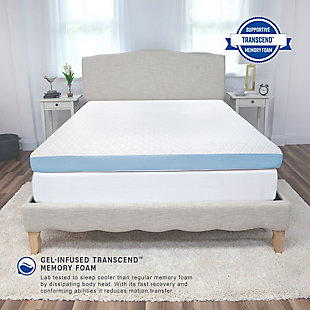 SensorPEDIC® 4-Inch Supreme Gel Cooling Transcend Memory Foam Queen Bed Topper, White, rollover