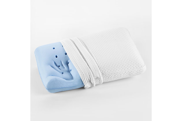 SensorPEDIC® Luxury Extraordinaire Gusseted Gel-Infused Memory Foam Oversized Bed Pillow, White, large