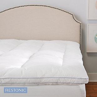 Restonic® 3-Inch Memory Fiber and Memory Foam Hybrid Twin Mattress Topper, White, rollover