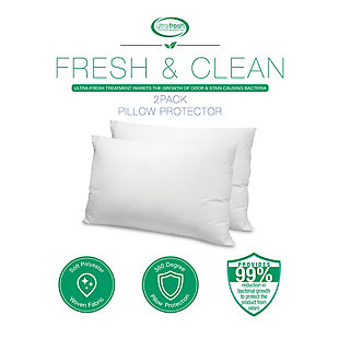BioPEDIC® Fresh and Clean Standard Pillow Protector Pair with Antimicrobial Ultra-Fresh Treated Fabric, White, large