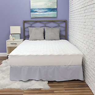 BioPEDIC® Fresh and Clean Twin Mattress Pad with Antimicrobial Ultra-Fresh Treated Fabric, White, rollover
