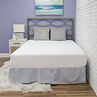 BioPEDIC® Fresh and Clean Twin Mattress Protector with Antimicrobial Ultra-Fresh Treated Fabric, White, rollover