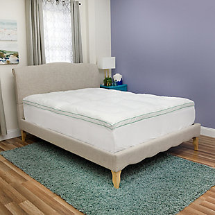 BioPEDIC® Fresh and Clean 2.5-Inch Down Alternative Twin Mattress Topper with Antimicrobial Ultra-Fresh Treated Fabric, White, rollover