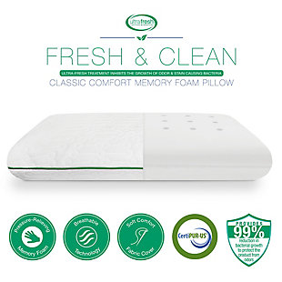BioPEDIC® Fresh and Clean Classic Comfort Memory Foam Pillow with Antimicrobial Ultra-Fresh Treated Fabric, , large