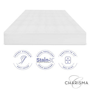 Charisma® Luxury Protection Water Repellent and Stain Resistant Twin Mattress Protector, White, large