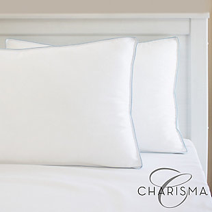 Charisma® Gel-Infused Memory Foam Cluster and Gel Fiber Standard Bed Pillow, White, rollover