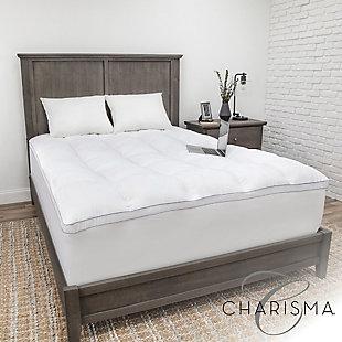 Charisma® Luxury Plush 3.5-Inch Memory Foam Cluster and Gel Fiber Twin Mattress Topper, White, rollover