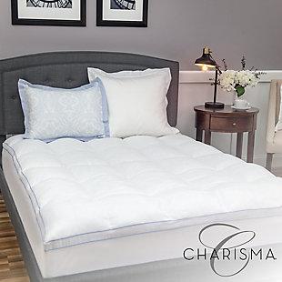 Charisma® Luxury Plush 3.5-Inch Memory Foam Cluster and Gel Fiber Twin Mattress Topper, White, large