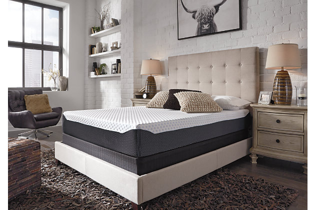 10 Inch Chime Elite Twin Memory Foam Mattress in a box, White/Blue, large
