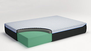 12 Inch Chime Elite Twin Memory Foam Mattress in a box, White/Blue, rollover