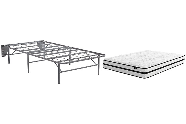 Chime 10 Inch Hybrid Twin Mattress with Foundation, White, large