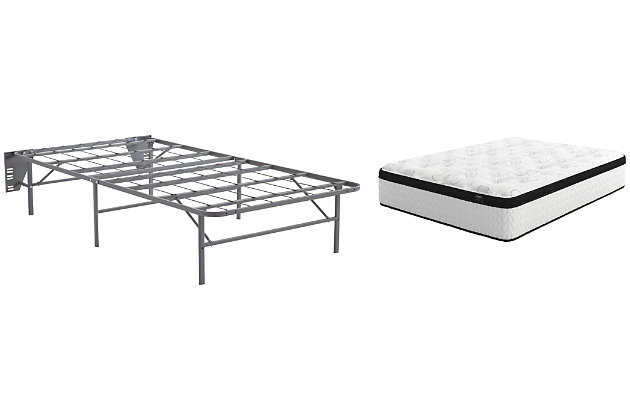 Chime 12 Inch Hybrid Twin Mattress with Foundation, White, large