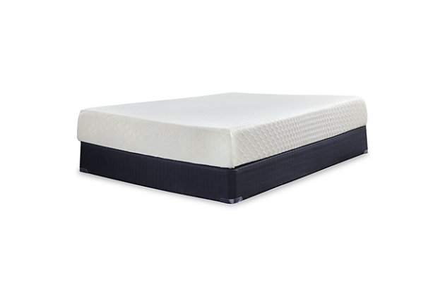 10 Inch Chime Memory Foam King Mattress in a Box, White, large