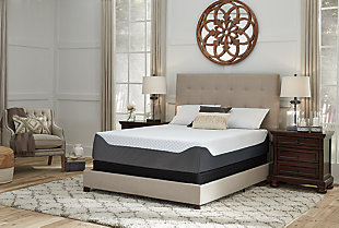 14 Inch Chime Elite King Memory Foam Mattress in a Box, White/Blue, rollover