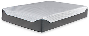 14 Inch Chime Elite Queen Memory Foam Mattress in a Box, White/Blue, rollover